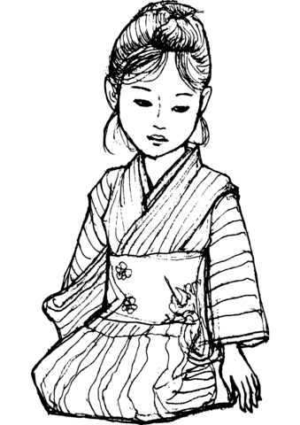 Japanese Girl In Kimono Coloring Page Free Printable