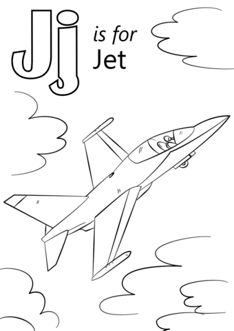 letter j is for jet coloring page free printable coloring pages