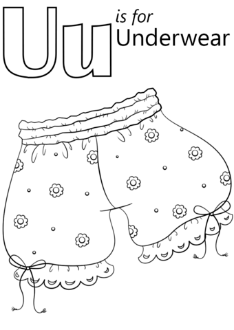 U Is For Underwear Coloring Page Free Printable Coloring