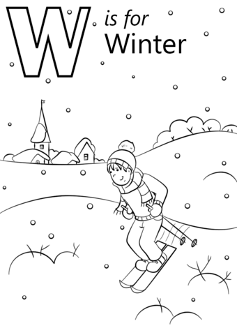 W Is For Winter Coloring Page Free Printable Coloring Pages