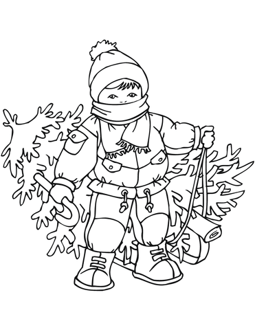 little boy with xmas tree coloring page free printable coloring