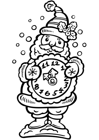 santa holding a clock coloring page free printable coloring pages