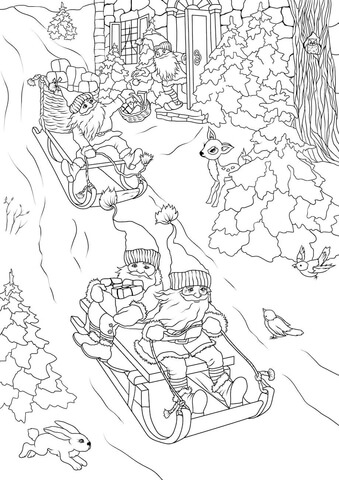 Christmas Gnomes Are Delivering Presents On Sleds Coloring