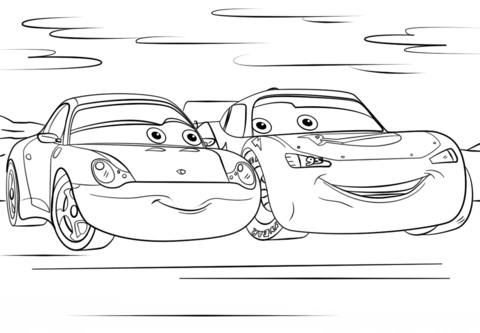 Lightning Mcqueen And Sally From Cars 3 Coloring Page Free Printable Coloring Pages