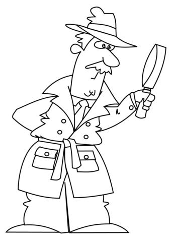 Cartoon Detective Coloring Page Free Printable Coloring