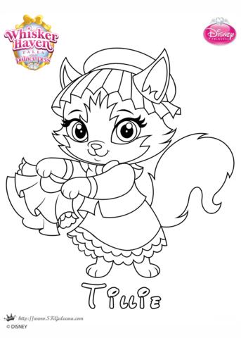 Whisker Haven Tillie Princess Coloring Page Free