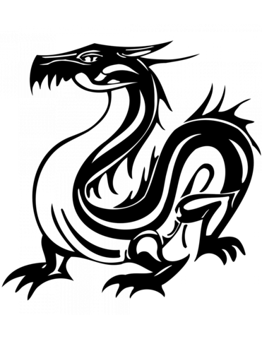 Oriental Dragon Tattoo Coloring Page Free Printable