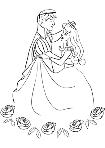 Click to see printable version of Prince and Princess Dancing Coloring page