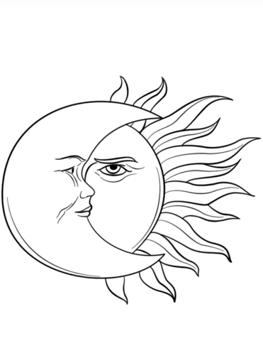 Sun And Moon Coloring Page Free Printable Coloring Pages
