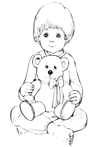 Boy With Teddy Bear Coloring Page Free Printable