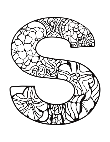 Letter S Zentangle Coloring Page Free Printable Coloring Pages