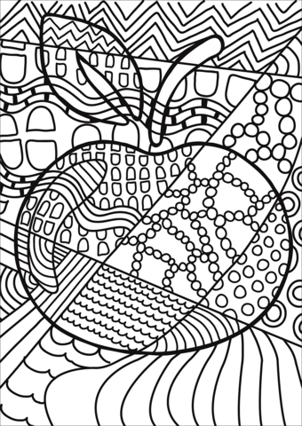 Pop Art Apple Coloring Page Free Printable Coloring Pages