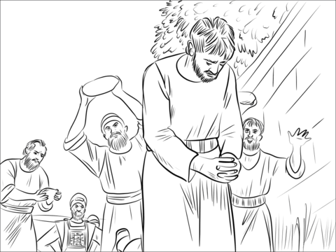 The Stoning Of Stephen Coloring Page Free Printable