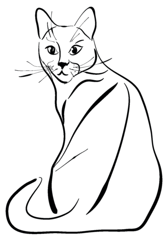 Sitting Cat Coloring Page Free Printable Coloring Pages