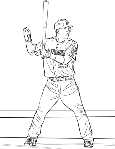 Mike Trout Coloring Page Free Printable Coloring Pages