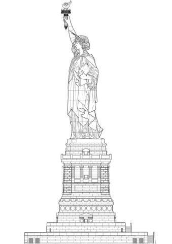 Statue Of Liberty With Pedestal Side View Coloring Page Free Printable Coloring Pages