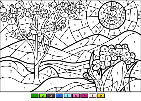 Spring Color By Number Free Printable Coloring Pages