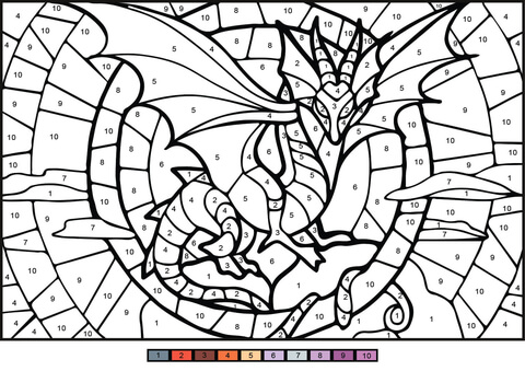Dragon Color By Number Free Printable Coloring Pages