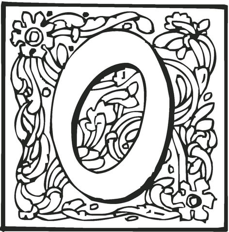letter o with ornament coloring page free printable coloring pages
