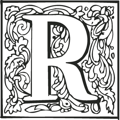 letter r with ornament coloring page free printable coloring pages