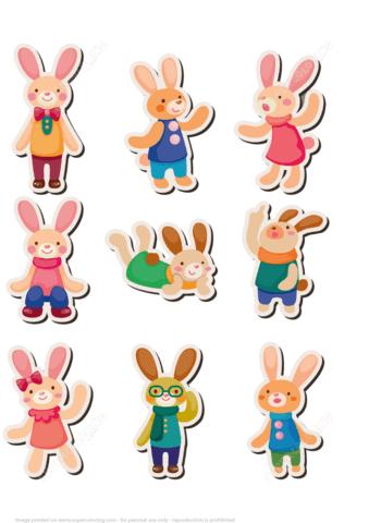 Printable Rabbit Bunny Stickers Free Printable