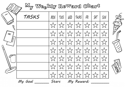 My Weekly Reward Chart With Stars Free Printable