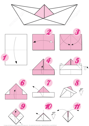 Origami Boat Instructions Free Printable Papercraft