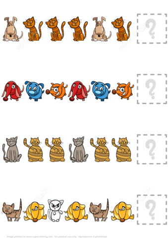 Complete The Puzzle Worksheet With Dogs And Cats Free
