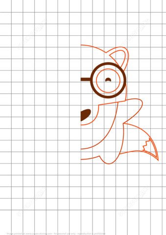 Draw Cute Fox Grid Puzzle Free Printable Puzzle Games
