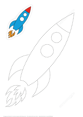 Learn To Draw Space Rocket By Tracing Dashed Lines Free