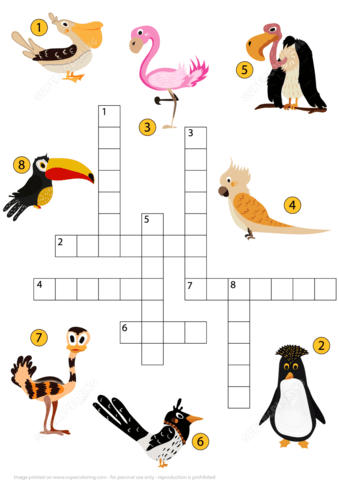 Study Birds Crossword Puzzle Free Printable Puzzle Games