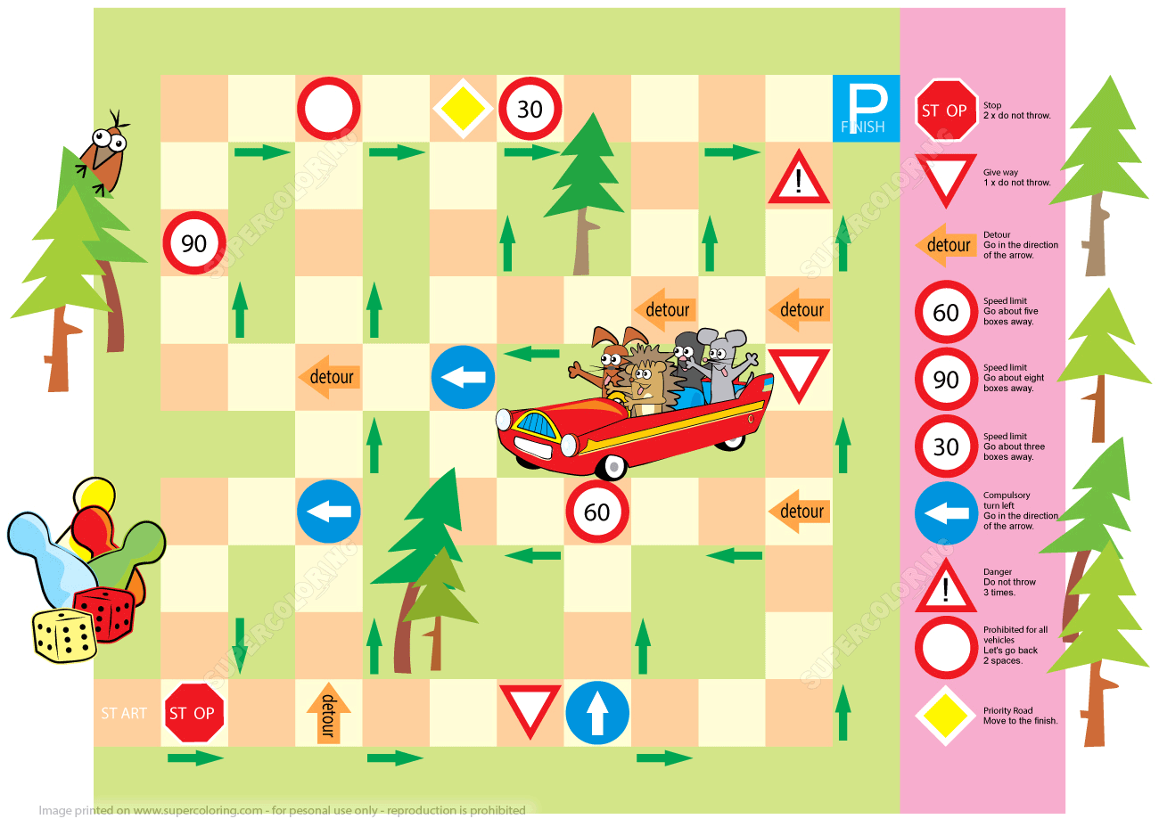 Board Game With Traffic Road Signs