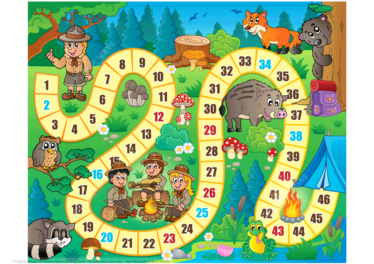 Camping Board Game Printable Template