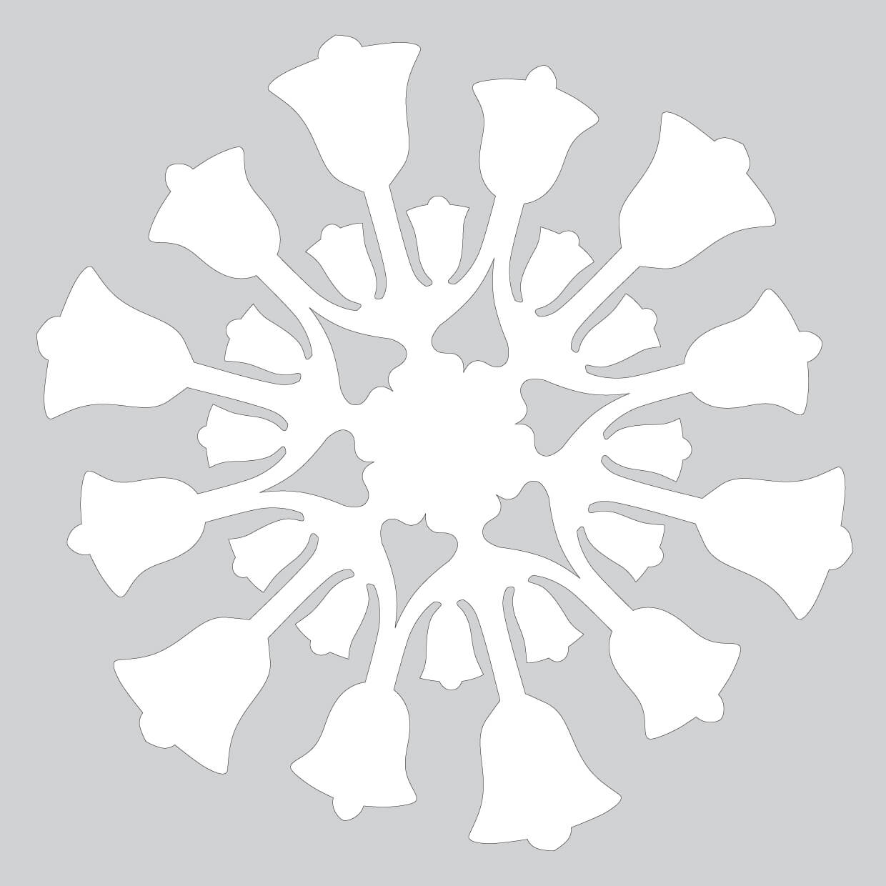 Paper Snowflake Pattern With Bells Cut Out Template