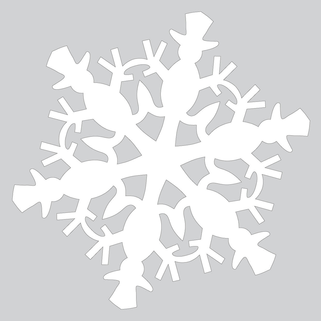 Paper Snowflake Pattern With Snowman Cut Out Template