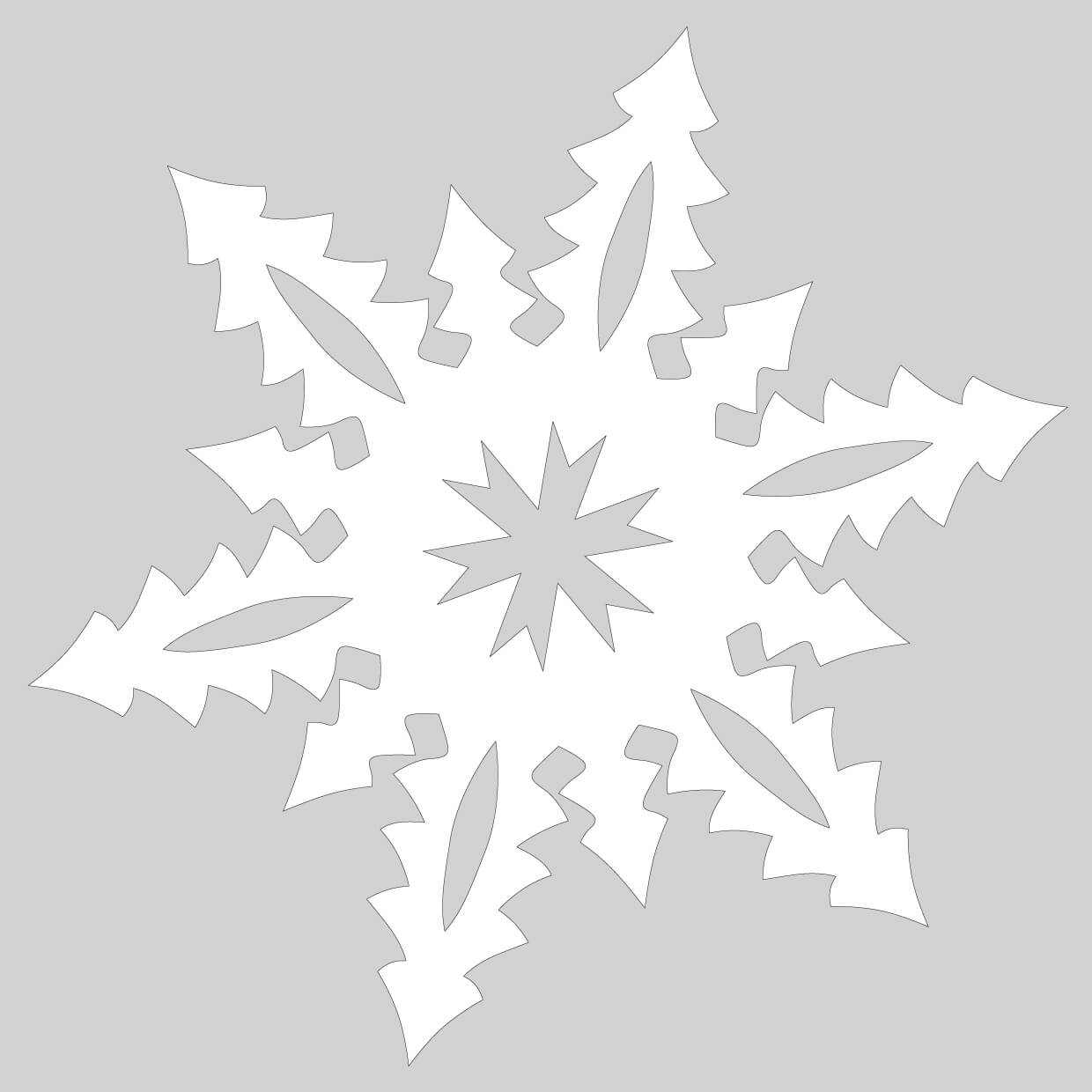 Paper Snowflake With Tall Christmas Trees Pattern Cut Out