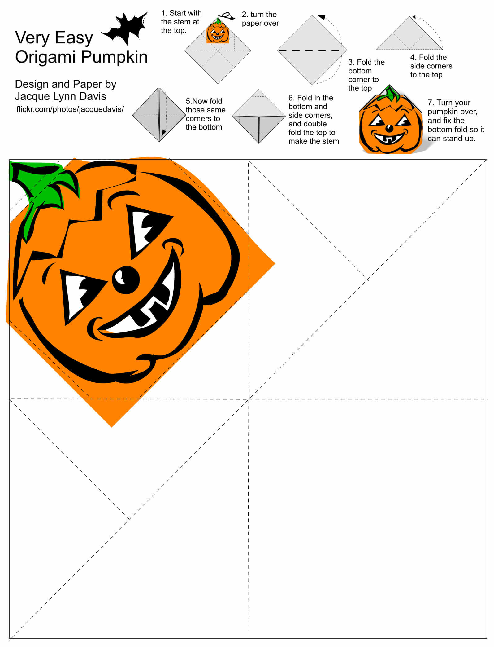 Origami Pumpkin Jack O Lantern Template With Diy