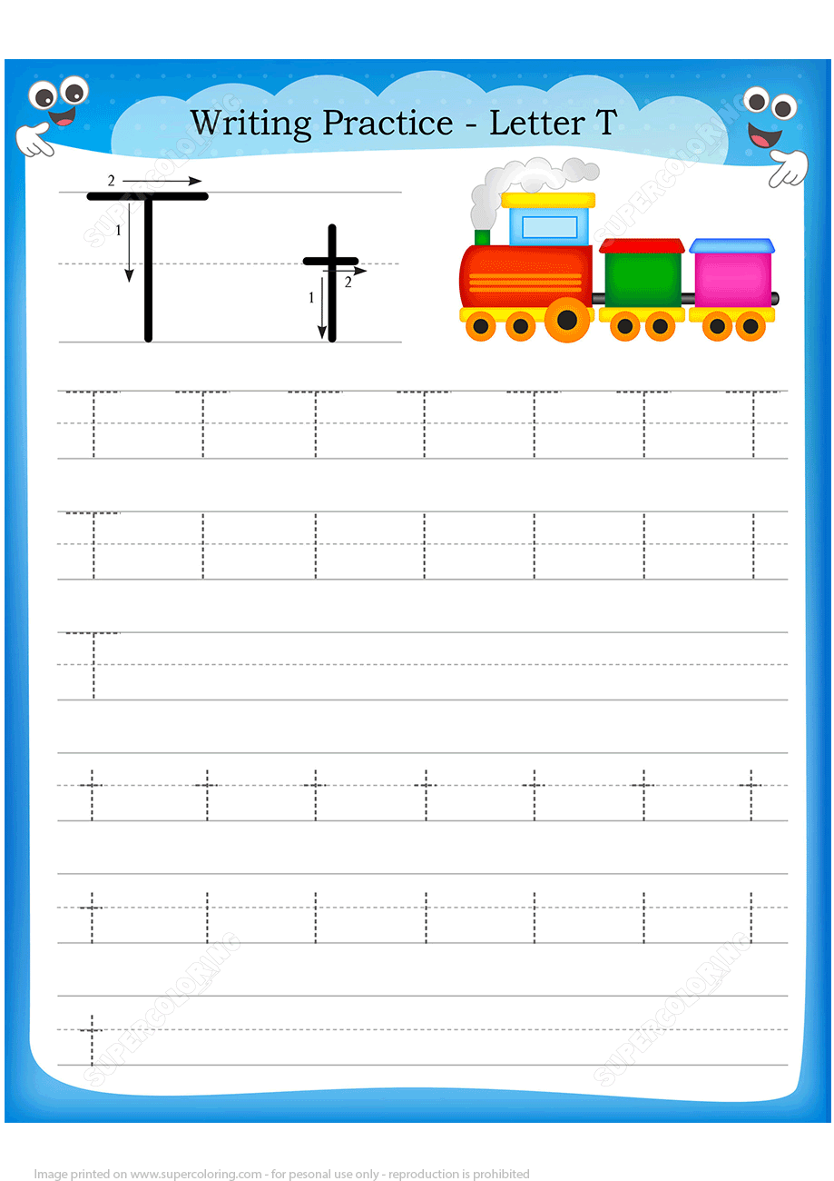 Letter T Is For Train Handwriting Practice Worksheet
