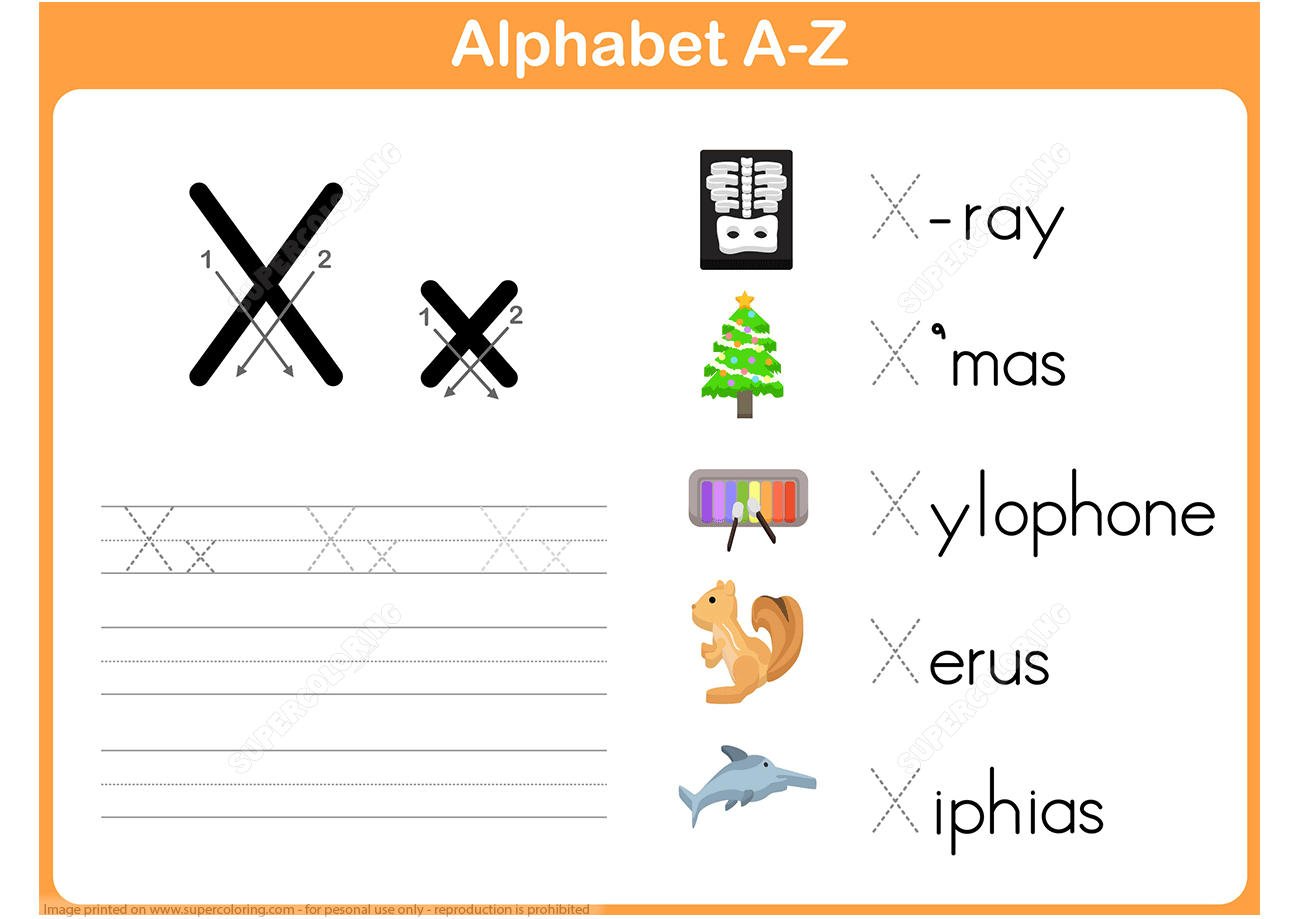 Letter X Tracing Worksheet