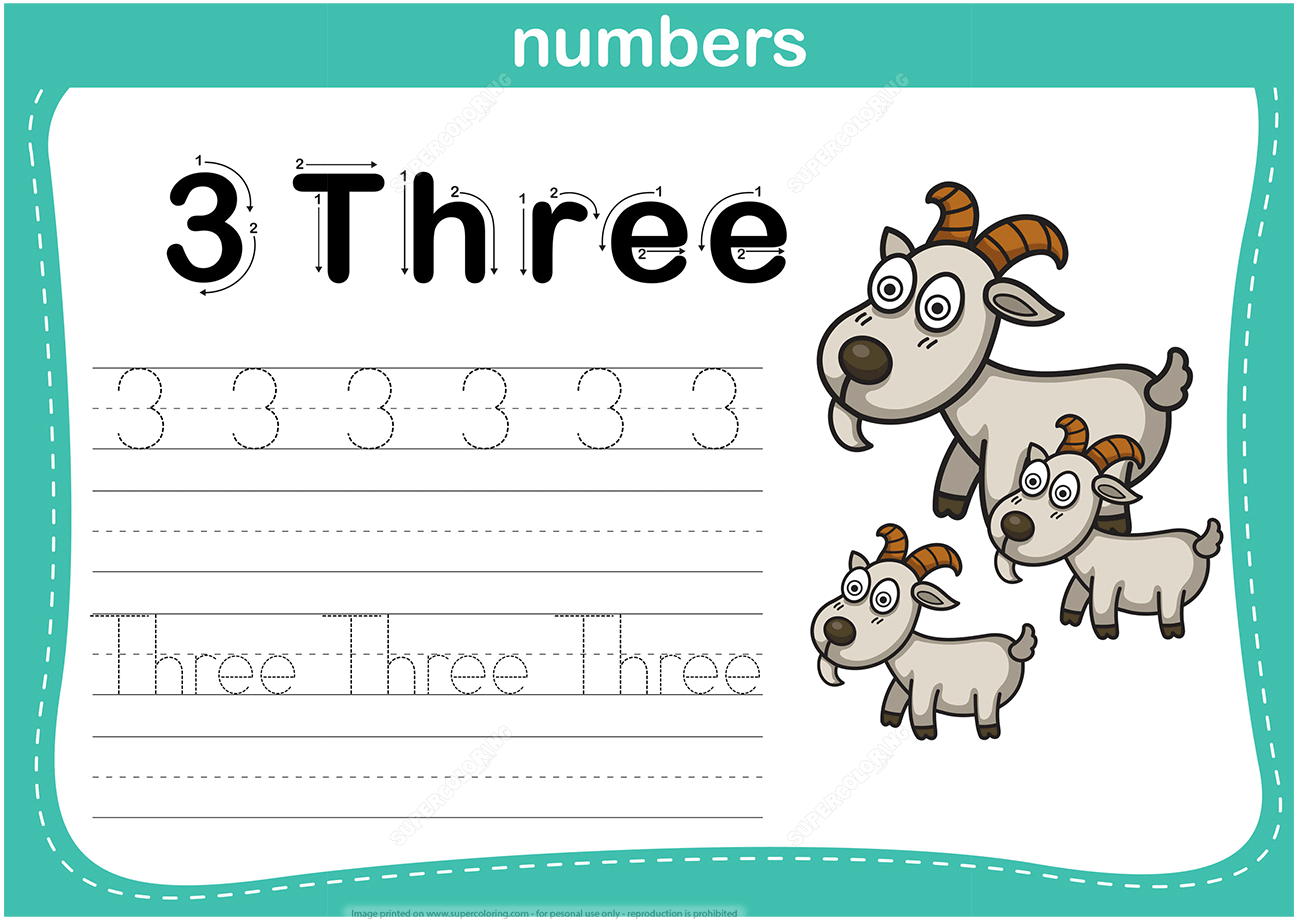 Number 3 Tracing Worksheet