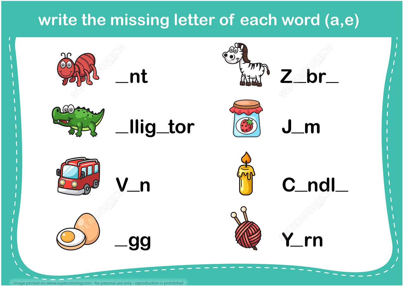 Write The Missing Letter Word Puzzle Copy
