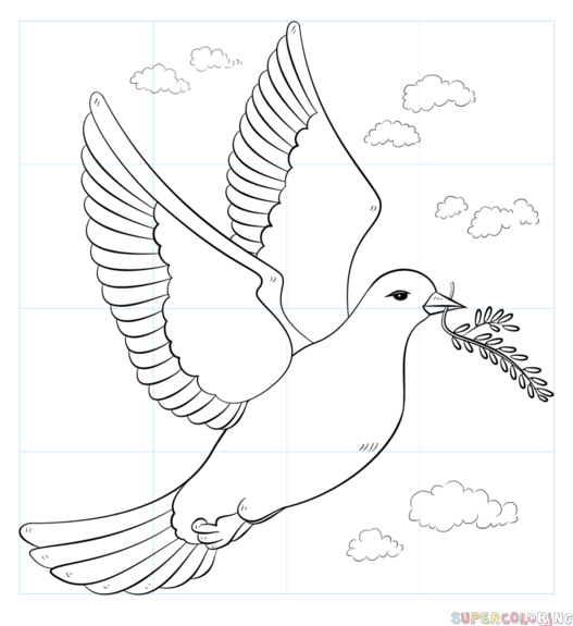 how to draw a peace dove with olive branch step by step drawing
