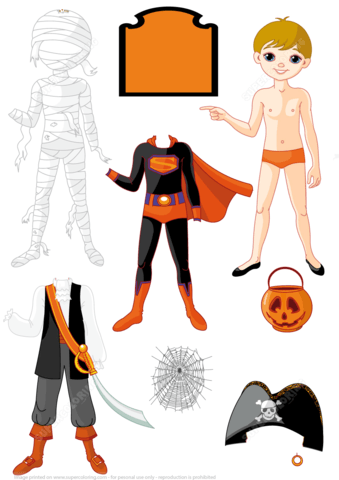 Boy Paper Doll With 3 Costumes For Halloween Party Mummy