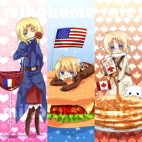 Hetalia Bookmarks With France USA And Canada Free