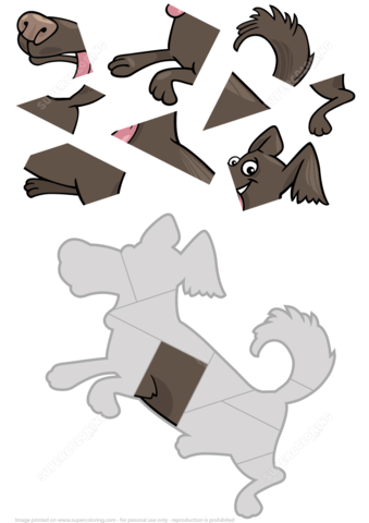 9 Piece Jigsaw Puzzle With A Cute Dog Pet Free Printable