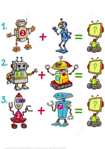 Addition Of Robots Math Puzzle Worksheet