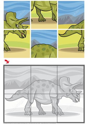 Triceratops Dinosaur Jigsaw Puzzle Free Printable Puzzle