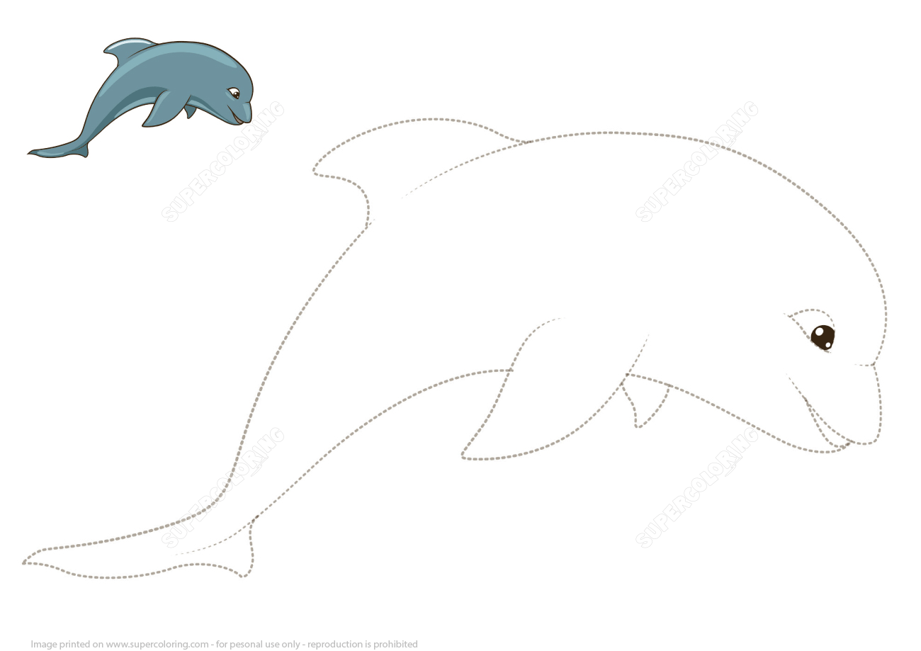 Connect The Dots To Draw A Dolphin