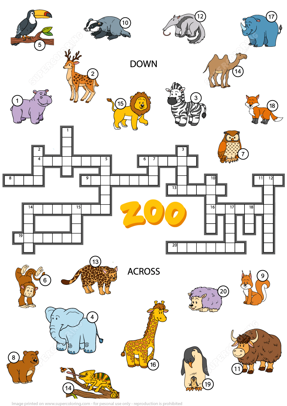 Crossword Puzzle About Zoo Animals Free Printable Puzzle Games