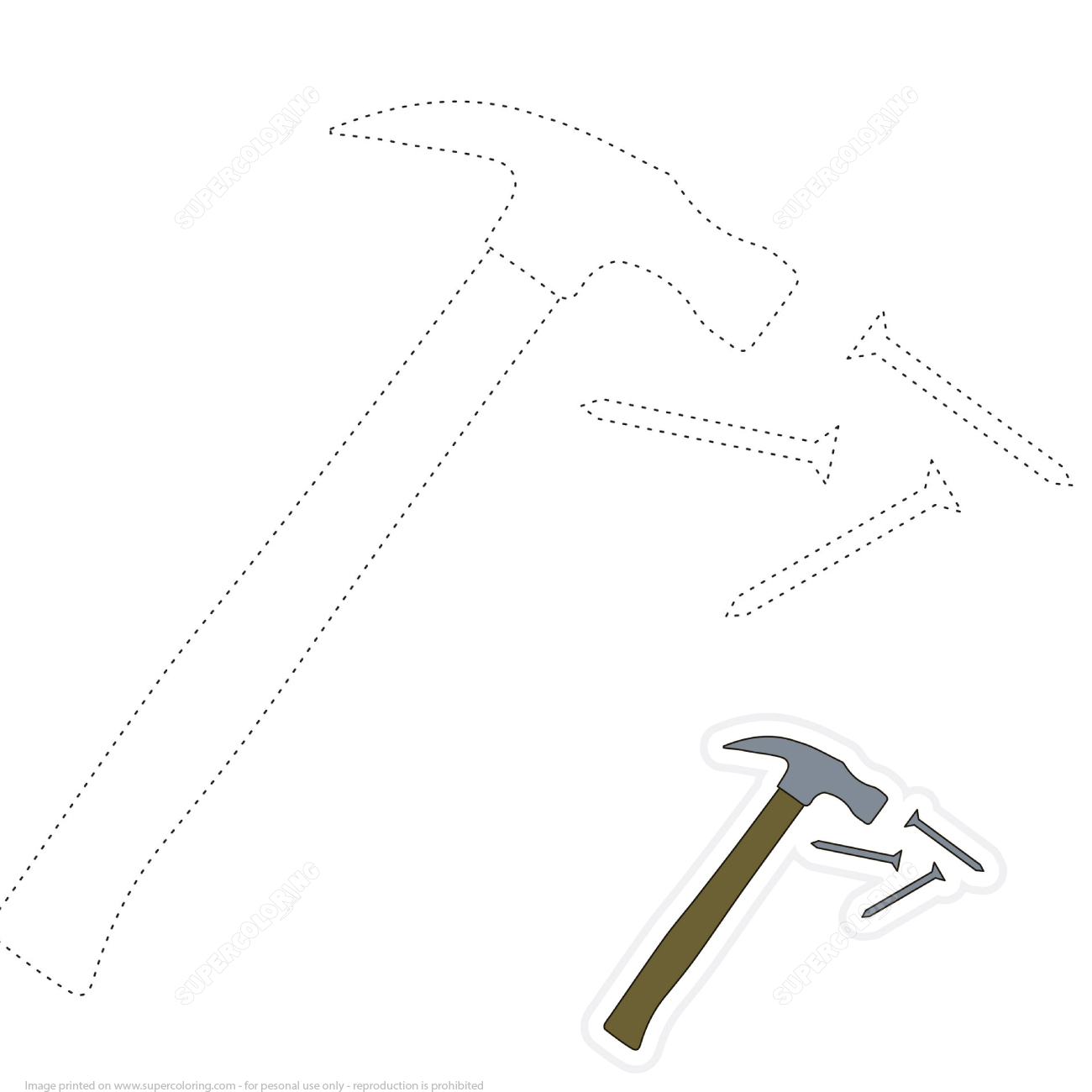 Draw Hammer And Nails By Tracing Dashed Lines And Color